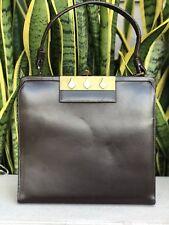 Vintage Brown Leather Purse Handbag Bag Clutch 50s 60s Vtg 1950s 1960s Gold