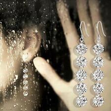 silver long Lots water drop Zircon dangle earrings Gift Free Ship