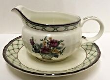 Mikasa FLORAL PAGENT Gravy Boat and Underplate
