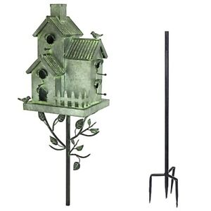 Birdhouse Multi Bird 4 Units Living Tin with 4 Prong Stake