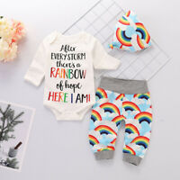 Newborn Baby Girl Boy Rainbow Clothes Romper Tops Jumpsuit Pants Hat Outfits Set