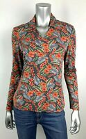 Tommy Bahama Blouse Womens S Silk Multicolor Floral V-neck Collar Long Sleeve