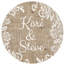 30 Burlap and Lace Personalized with names Wedding Stickers