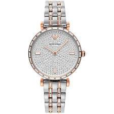 NEW EMPORIO ARMANI AR11293 GENUINE LADIES WATCH TWO-HAND TWO-TONE CRYSTAL STONES