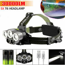 20000LM Lumens 5x XM-L CREE T6 LED Rechargeable Head Torch Headlamp Lamp Light