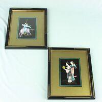 Vtg Mid Century Modern Asian Wall Art Print Frame Fleck Bros Pair Pink Blue Gold