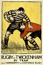 RUGBY AT TWICKENHAM 1921 London Tube POSTER Reprint (London Transport Museum)