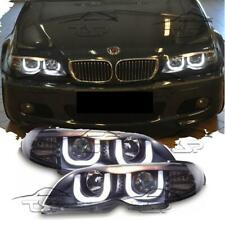 HEADLIGHTS DARK 3D ANGEL EYES FOR BMW E46 02-05 SALOON TOURING SERIES 3 NEW