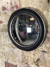 """Glace / miroir rond """"new"""" noir, patine argenté avec oeil de sorcière diam 19 cm"""