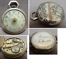 """Petite montre à gousset argent massif + OR 19e siècle watch  """"Andrée 13 mai 1909"""