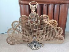 Fireplace Peacock Fan Folding Screen Vintage 1960 Art Deco Brass Full Size Cameo