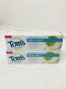 Toms of Maine Sea Salt Natural Fluoride Toothpaste Refreshing Mint TWO