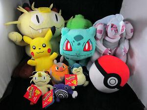 LOT OF 9 VINTAGE Pokemon Digimon Nintendo Hasbro Beanie Plush Toy Pikachu Meowth