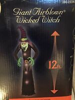 New Gemmy Halloween 12'Tall Lighted Wicked Witch Airblown/Inflatable Decoration