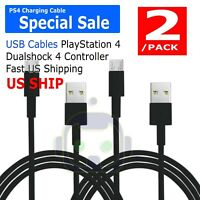 2 Pack PlayStation 4 Controller USB Charge Cable KMD New (PS4 Charger Cord)