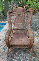 ANTIQUE VICTORIAN 1895 WAKEFIELD WICKER PLATFORM ROCKER CHAIR