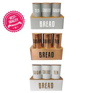 Bread Bin 4pcs Kitchen Set Sealed Tea Coffee Sugar Tins - 4 Colours