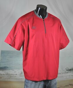 MIZUNO Performance Baseball 1/4 Zip Windbreaker Polyester Pullover RED Sz L EUC