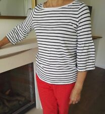 Chic! Mint Velvet bell-Sleeve striped tee size UK 16 Spring summer top