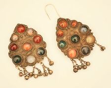 Vtg HUGE ethnic tribal earrings AS IS semi-precious stones Afghan/Kuchi? Morocco