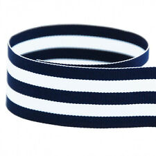 """5 yards 5/8"""" Navy White Stripes Taffy Woven Grosgrain Ribbon"""