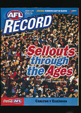 2000 AFL Football Record Carlton Blues vs Essendon Bombers Julky 21-23 unmarked
