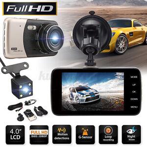 4'' Full HD1080P Night Vision Car DVR Dash Camera Recorder Front &Rear Dual Lens