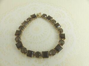 9ct Gold Smoky Quartz Bracelet Hallmarked 7 1/4'' with gift box