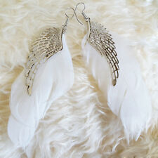 Womens Silver-Color Angel Hollow Wings White Feather Dangle Hookie Hook Earrings