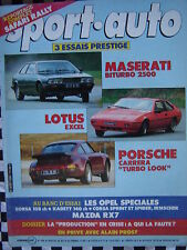 SPORT AUTO 1984 PORSCHE CARRERA TURBO LOOK / LOTUS EXCEL /MASERATI BITURBO n°268