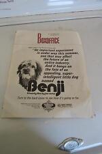 1974 Box Office Benji A Family Film By Joe Camp Book
