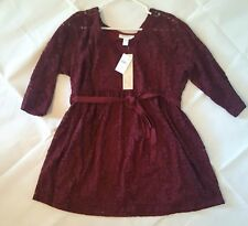 NWT, Motherhood Maternity burgandy lace, baby doll tie waist LS blouse, 1X