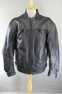 RICHA ROAD BLACK LEATHER BIKER JACKET WITH BACK, SHOULDER & ELBOW CE ARMOUR 46IN