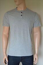 Nueva Abercrombie & Fitch clásico a rayas Henley Camiseta Camiseta Gris XL