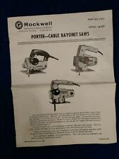 Rockwell Porter Cable Bayonet Saws Operating Instructions Manual 41980 Complete