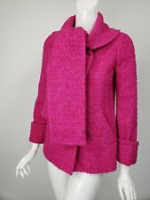 J CREW COLLECTION Magenta Boucle Wool Scarf Neck Short Coat 6P 6 Petite