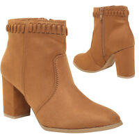 WOMEN LADIES CHUNKY BLOCK MID HEEL CHELSEA ANKLE FAUX SUEDE ZIP SHOES BOOTS SIZE