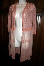 Xhileration lace jacket duster layering top M peach victorian vintage inspired