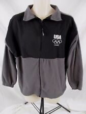 United States Olympic Committee London Mens M Fleece Jacket Gray Black Zip CB65K