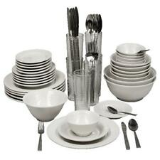 Stoneware Dinnerware Set 62 Piece Service for 6 Round Serving Kitchen Dish Cream