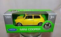 Welly Mini Cooper gelb in 1:60  Neu & OVP
