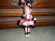 "Vintage Souviner Carnival Doll Pipe Cleaner Clothes & Umbrella 8"" RARE FIND!!"