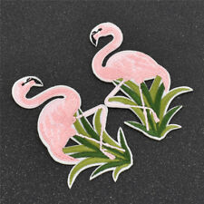 1 Pair Embroidered  Iron-On Flamingo Patch Clothes Applique Trim Sewing Decor