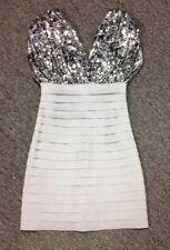 SHERRI HILL Silver Sequin Top Elastic Bottom Lined Bodycon Dress Sz 2 SMA12029