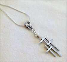 Tibetan Silver Triple Cross Pendant Necklace