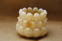 "4"" China rare old antique handcarved white jade lotus Pot vase"