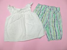 CHILDRENS PLACE girls White Ruffled TOP* Jumping Bean Stripe Pants* 9 12 months