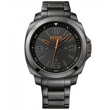 BRAND NEW HUGO BOSS 1513100 BRISBANE BLACK STAINLESS STEEL ORANGE ACCENT WATCH