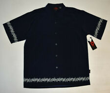 NWT Men D ClothingTribal Panel Bowling Shirt -Club- Biker Blue Polyester XL B46