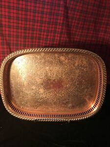 VINTAGE OBLONG COPPER TRAY Pierced And Engraved